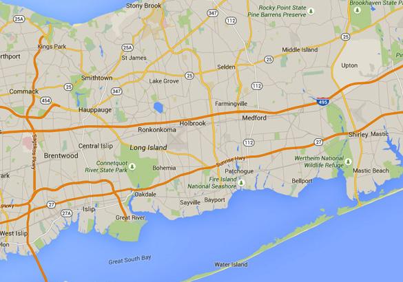 Ronkonkoma is part of Long Island, NY. (Credit: Google Maps)