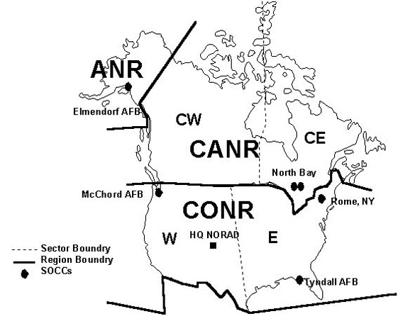 NORAD Regions and Sectors. (Credit: Wikimedia Commons)