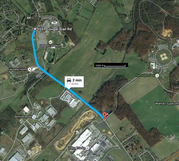 UFO travel route based on witness testimony. (Credit: Google Maps)