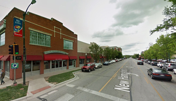 The witness said the object had no wings or no vapor or condensation trails. Pictured: Lawrence, KS. (Credit: Google)