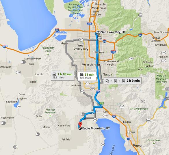 Eagle Mountain is about 40 miles southwest of Salt Lake City, UT. (Credit: Google Maps)