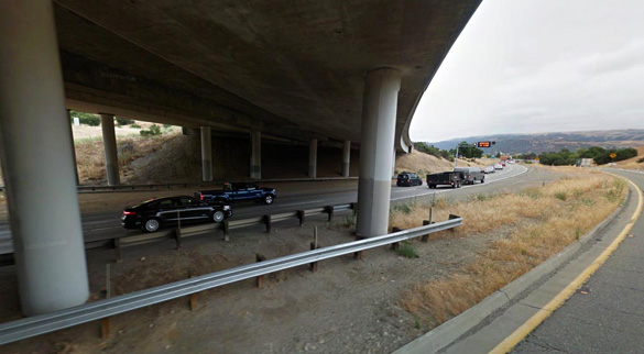 The witness was in the area of the 84 exit along I-680 when the object was seen moving quickly overhead. (Credit: Google)