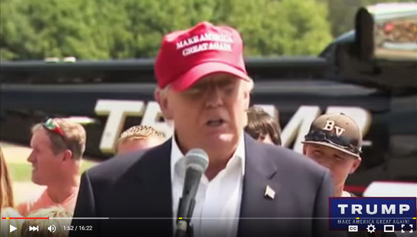 Donald Trump during his speech at the Iowa State Fair on August 15, 2015. (Credit: The Savage Nation YouTube video)