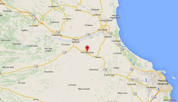 Paso de Ovejas is about 350 kilometers directly east of Mexico City. (Credit: Google Maps)