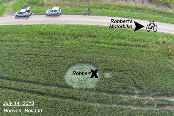 July 14th - Robbert is apparently picked up by large light-ball and deposited inside a brand new crop circle.  Photo: Ronald Sikking