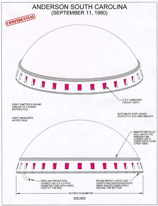 Illustration of UFO described by witness by Michael Schratt