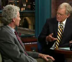 An image from Peckman's appearance on David Letterman.