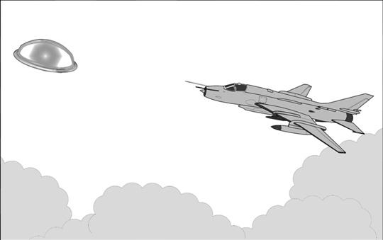 Sketch of the Sukoi 22 aircraft piloted by Lt. Oscar Santa María at the time of firing 32 rockets at the UFO over the La Joya base.