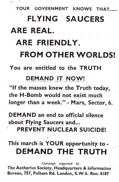 A copy of the Aetherius Society pamphlet used to advertise the 'disclosure' rally in Trafalgar Square in 1958. (Credit: Special Branch file)