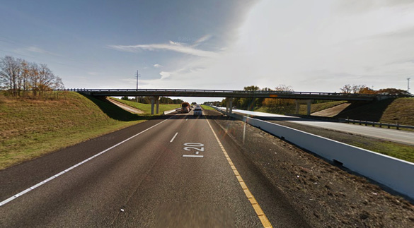 The witness noticed the triangle-shaped object hovering over a bridge just off I-20. Pictured: A bridge over I-20 in Lindale, TX. (Credit: Google)