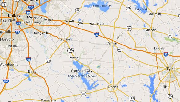 Lindale, TX, is about 90 miles directly east of Dallas. (Credit: Google)