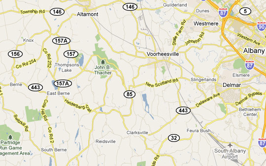 Google map of the area of the sightings.