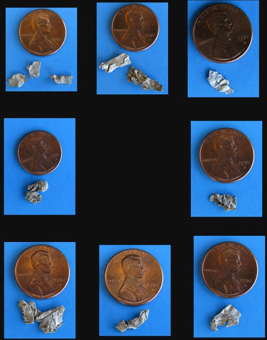 Some of the metal alloy fragments found buried and scattered over the debris field area. (image credit: Frank Kimbler)