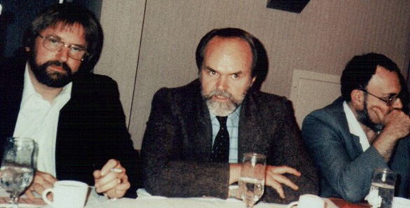 From left: William Moore, Jamie Shandera, and Stanton Friedman. (Credit: Antonio Huneeus)