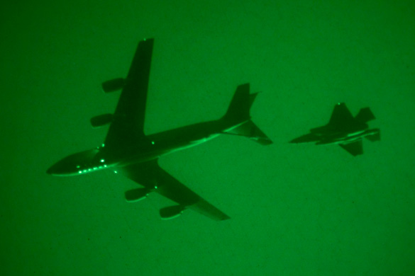 The F-35 flight test program aerial refueled for the first time at night on 22 March 2012. (Credit: Lockheed-Martin/Tom Reynolds)