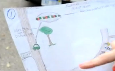 Tremaine's drawing of the UFO shooting its beam at the unmarked police car.