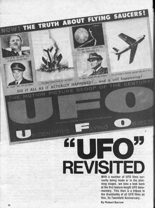 Article on the movie about Al Chop titled, UFO: The Truth About Flying Saucers.