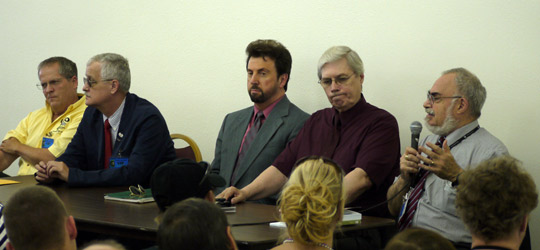 Panelist from left: Frank Kimbler, Kevin Randle, Don Schmitt, Tom Carey, and Stanton Friedman. (image credit: Alejandro Rojas)