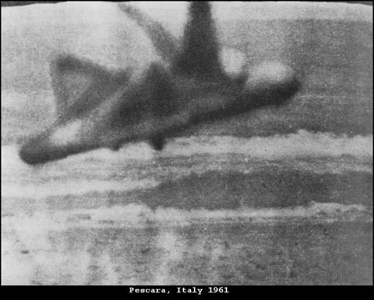 """Italian aeronautical journalist Bruno Ghibaudi took this famous picture on April 27, 1961, near the Montesilvano beach (Pescara province) in the Adriatic Sea. Ghibaudi is rumored to have been a witness to the """"Friendship"""" affair, his articles and photos were published in several Italian magazines, such as La Domenica Del Corriere."""