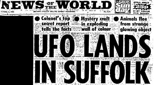 A newspaper clipping in the MOD files of the story that broke the Rendlesham forest UFO sighting.