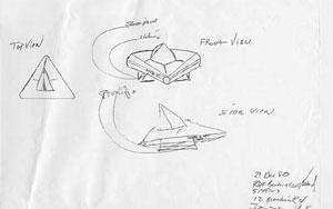 Rendlesham UFO sketch by James Penniston (Credit: NickPope.net)