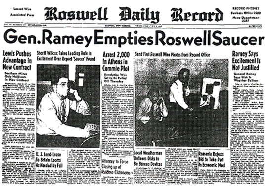 Roswell Daily Record July 9, 1947.