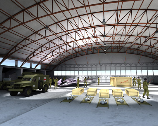 Illustration by John MacNeill of the scene inside of RAAF hangar P-3.