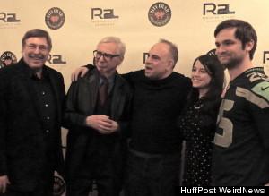 The Amazing Kreskin with the Huffington Post Weird News crew at New York's City Crab during Kreskin's 80th birthday celebration. (Credit: Huffington Post Weird News)