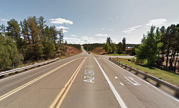 The witness saw the slow moving object as it passed over his home and was headed into Show Low, Arizona. Pictured: Show Low, AZ. (Credit: Google)