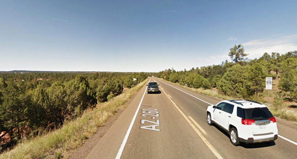 The witness was afraid because he was home alone at the time and thought that the craft might land. Pictured: Show Low, AZ. (Credit: Google)