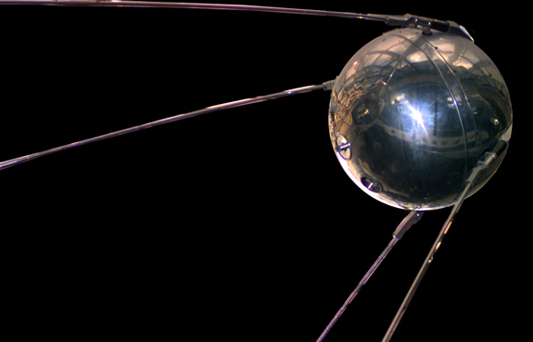 Sputnik I, the first artificial Earth satellite. Launched by the USSR on  October 4, 1957. (Credit: NASA)