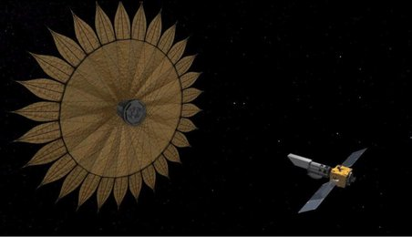 A Starshade with a simple telescope could help scientists on the ground hunt for another Earth. (Credit: NASA/JPL/Caltech)