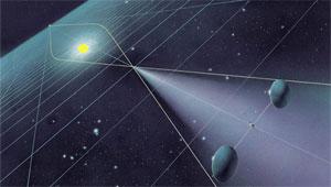 Communication satellites using the sun's gravity to focus radio waves (credit: Claudio Maccone)