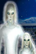 """Drawing of """"Tall White"""" aliens."""