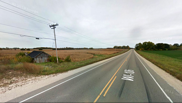 The two witnesses stopped along Route 106 in Fort Atkinson, Wisconsin, pictured, to get a view of the object, but quickly became frightened and left the scene. (Credit: Google)